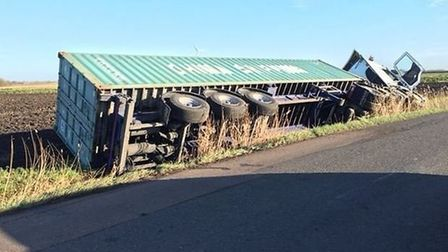 Lorry crash on Benwick Road, Whittlesey