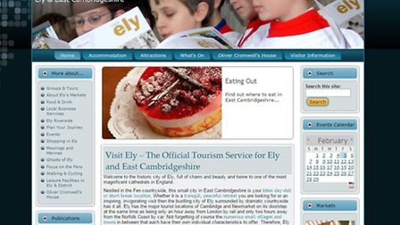 """The current layout for the 'Visit Ely' website, which has been called """"very dated"""" by Tracey Harding"""