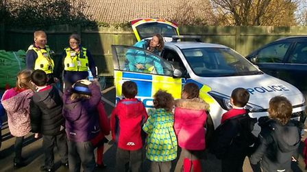 PCSOs Ian Hawkins and Annie Austin visited Little Thetford Primary school