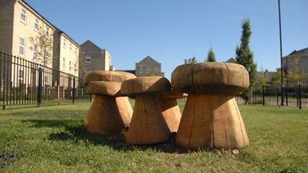 The mushroom seating at the play areas in Reeve Road, Stansted