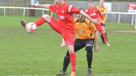 Ely City's Sam Goodge was denied by Stowmarket Town 'keeper Dan Boyce in their 1-0 defeat.
