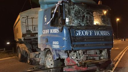 The Geoff Hobbs lorry that was recovered from a field on the A142, New Road junction, Chatteris