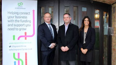 Binal Cadieu, Signpost 2 Grow project manager, with Martin Smith and Andy Jones from East Cambridges