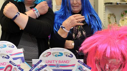 Promote World Cancer Day at Cancer Research Uk shop in Ely. Left: Shop manager, Dawn Statham and Joa