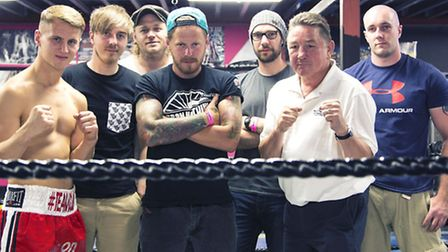 Rockers Phoenix Calling, with St Neots boxer Tommy Martin and boxing legend Dave 'Boy' Green