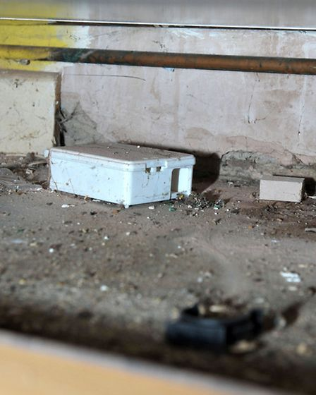 Homeless Hostel, March. Rodent bait box under kitchen units. Picture: Steve Williams.
