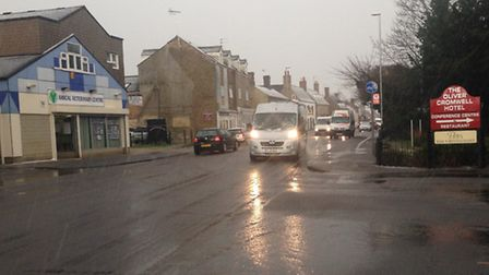 Sleet falls on High Street, March, on Wednesday March 2.