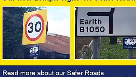 Mick George 20mph speed limit signs go up in Somersham