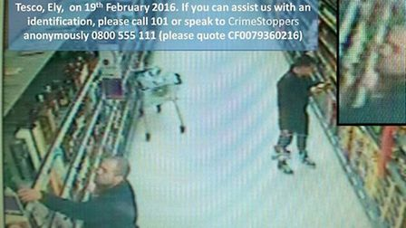 Police are on the look out for these men who stole alcohol from Tesco in Ely on Friday February 19.