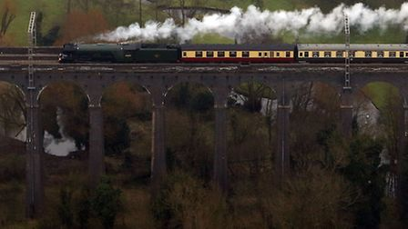 An aerial view of the Flying Scotsman going over the Digswell Viaduct near Welwyn Garden City on its