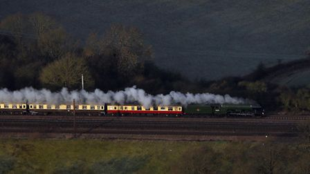 An aerial view of the Flying Scotsman near Hatfield on its inaugural run from London to York. Steve