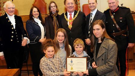 Stretham Youth Centre members collect a High Sheriffs Award for Construct at the Guildhall in Cambri