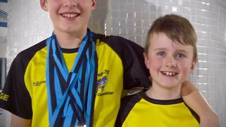 George Goodfellow and Thomas Alderton from King's Ely at the ASA County Championships.