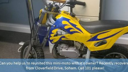 Can you help police to find the owner of this mini-moto bike? It was recovered earlier this month fr