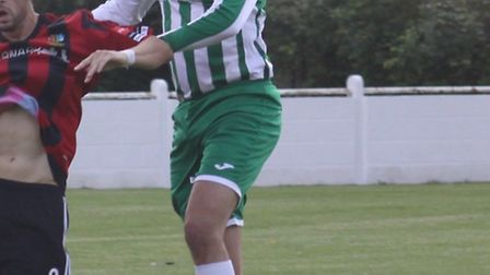 Jordan Gent, pictured here in action against Brightlingsea Regent. headed Soham Town Rangers to a 1-