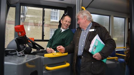 The Zipper Bus, at Witcham, driver Robert Skinner, with Councillor Bill Hunt,