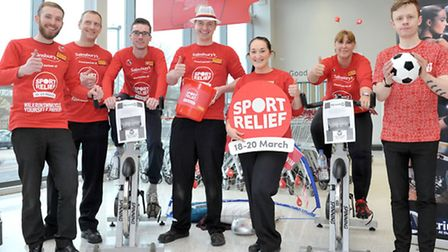 Sainsbury's Ely - Sport Relief - Management sports day. Staff members getting ready to ride the spin