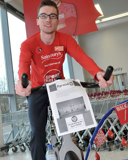Sainsbury's Ely - Sport Relief - Management sports day. Luke Edwards on the spinner.Picture: Steve W