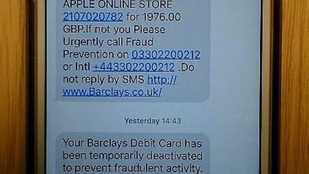 The text message Sergeant Jon Hiron received, which later lead to a fraudster trying to scam him out