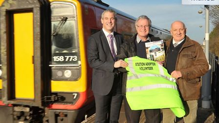 MP Steve Barclay at Manea railway station when it celebrated increase passenger numbers
