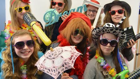 Shine Girls Day at Lighthouse and Countess Churches, Ely, dressing up in the photo booth,