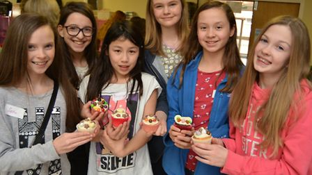 Shine Girls Day at Lighthouse and Countess Churches, Ely, girls with their decorated cup cakes,