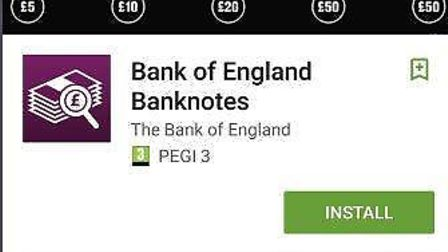 The Bank of England has issued a free to download application for smartphones, named 'Bank of Englan