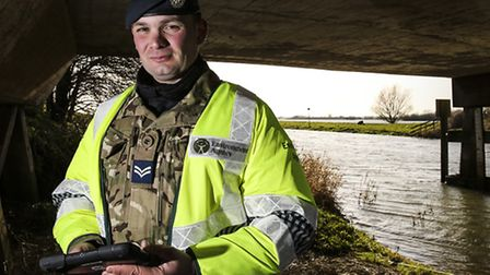 Corporal Paul 'Barney' Barnard from RAF Marham conducts flood defence surveys around the town of Ear