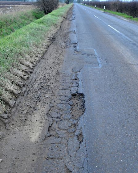 Road surface damage on Byall Fen Road, Manea. Picture: Steve Williams.