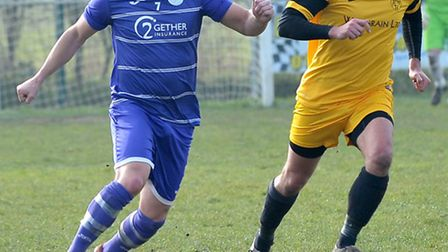 Action from Wisbech St Mary's 0-0 draw with Hemingfords United. Pictures: Steve Williams