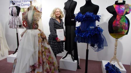 Alison Rhodes, Director of Art at Kings Ely Senior with Jessica Nurse's winning dress
