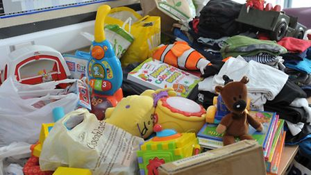 Items collected for House Fire victims at orchard school Wisbech. Picture: Steve Williams.