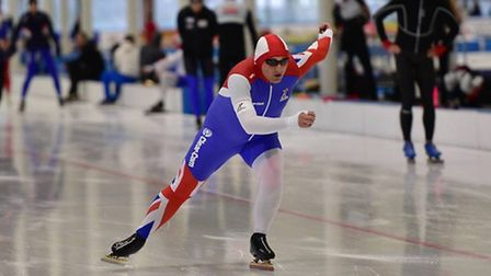 David Smith, from Sutton, at the 25th Edition of the World Masters Speed Skating Games. Picture: Ste