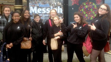 Ely Youth Choir outside the Royal Albert Hall before taking part in the Scratch Youth Messiah