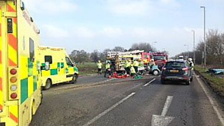 Aftermath of A141 collision yesterday