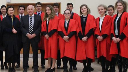 King's Ely pupils with former Head of School David Broughton after The Osmond Lecture.