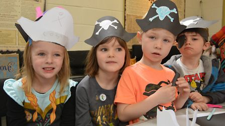 Ely Museum Peter Pan Day, (l-r) Cosima, Martha, Grey, and Jasper, with their pirate hats.