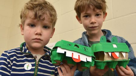 Ely Museum Peter Pan Day, (l-r) Tom, and Gabriel, from Ely, with their crocodiles.