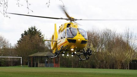 East Anglian Air Ambulance Trust helicopter lands in Chatteris