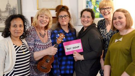 Ely A Soup. Left: Zee Jacob (Ely Soup volunteer), Sue Marchant (Ely Ukulele Club), Caline Easey (Ely