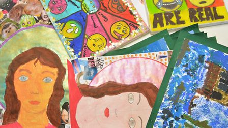 Some of the entries of Ely Police Station's ArtReach competition.