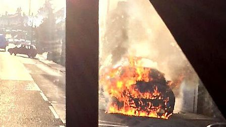 Car fire, St Peters Road, March. Picture taken by Tom Roy before the emergency services arrived.