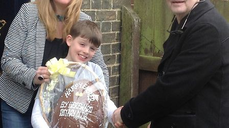 Giant Easter egg raffles raise £530 for charities and good causes. Chris Lee presents the Easer egg