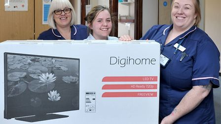 TV presentation by Tesco to the Antenatal Clinic with in North Cambs Hospital. Left: Antenatel clin
