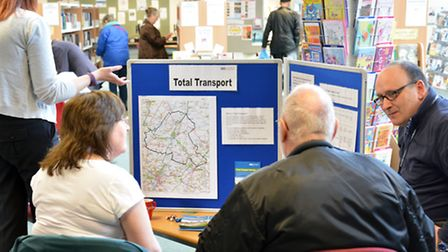 Residents share their views on the Total Transport scheme at Ely Library.
