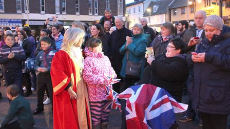 Ely residents and the Mayor of Ely, Lis Every, celebrate the Queen's 90th birthday. Photo: Mike Rous