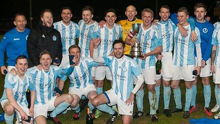 Chatteris Town celebrate their Cliff Bullen Challenge Cup success.