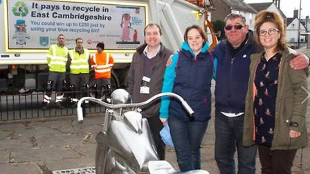 Stephen Cole and Lesley Marsh at the Littleport Harley-Davidson memorial statue, along with Caline E