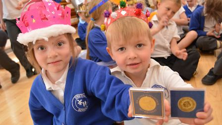 Stretham Primary School, celebrate the Queens 90th Birthday, with commemorative coins from the Paris