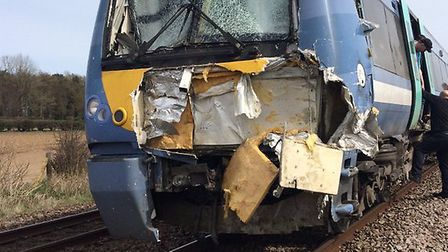 Damage caused to the front of the train in the Roudham crash